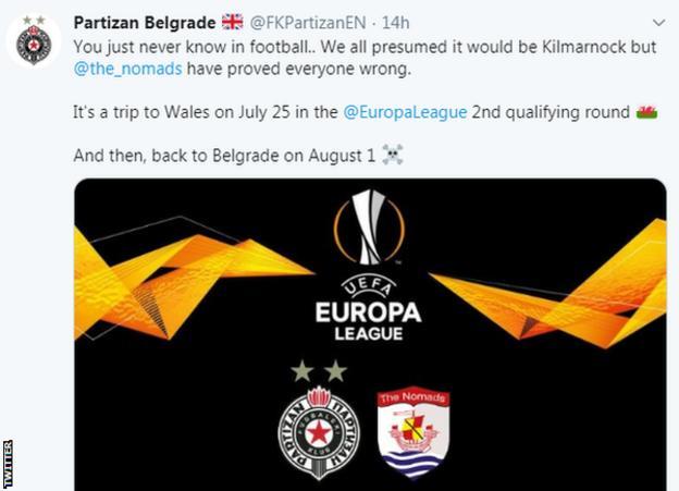Belgrade's tweet to Wales