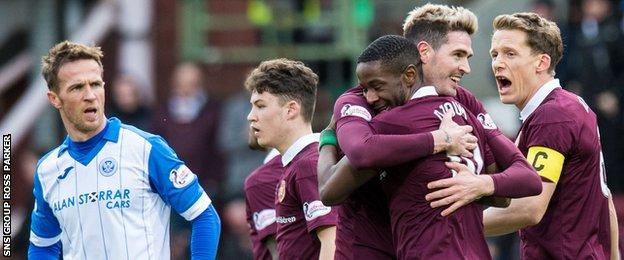 St Johnstone's Chris Millar (left) looks disappointed as Hearts celebrate