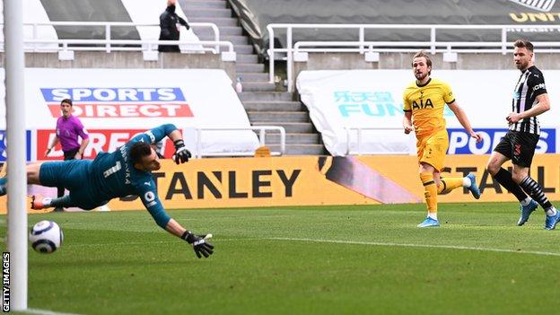 Tottenham's Harry Kane scores against Newcastle