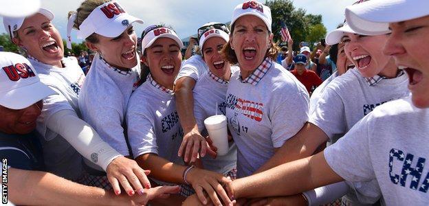 The United States team celebrate their win in Iowa