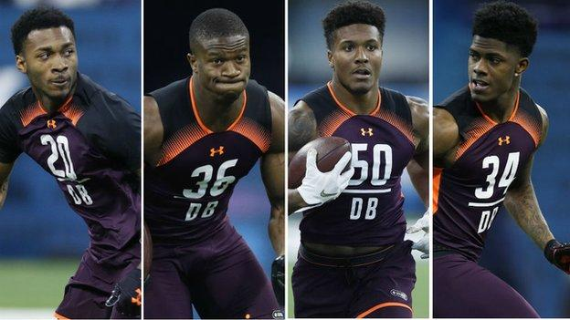 Justin Lane, Rock Ya-sin, Will Harris and Greedy Williams go through this year's Combine workout