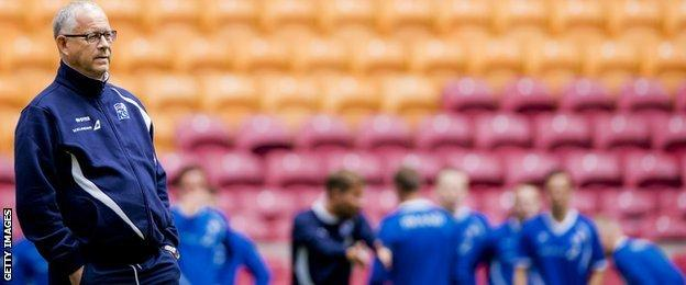 Coach Lars Lagerback of Iceland's national soccer team is pictured during a training session in the Amsterdam Arena, on September 2 2015, in preparation of the Euro 2016 qualifying football match against the Netherlands.
