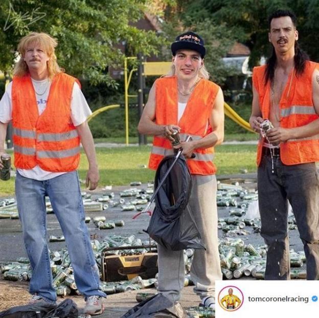 A mocked up image of Max Verstappen litter picking