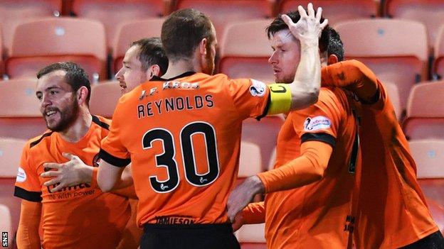 Dundee United's Calum Butcher is congratulated on his winner against Ross County