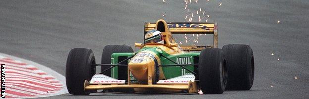 Michael Schumacher in action at the 1992 Belgian Grand Prix