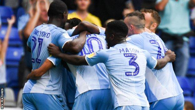 Coventry City players celebrate