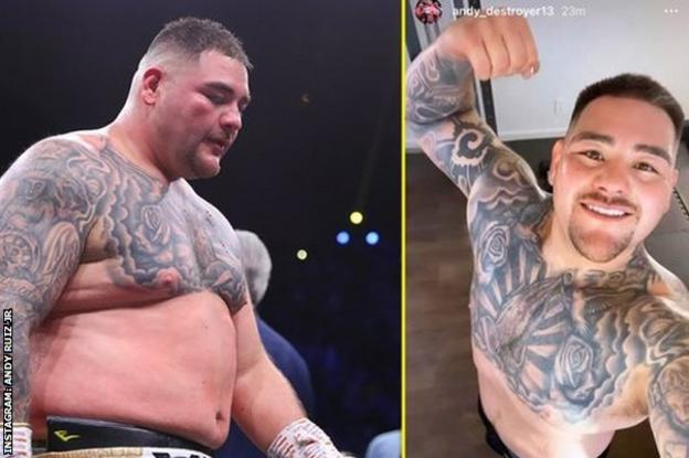 Andy Ruiz shows his weight loss on Instagram