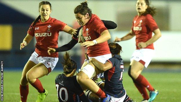 Wales' Sioned Harries in action against Hong Kong