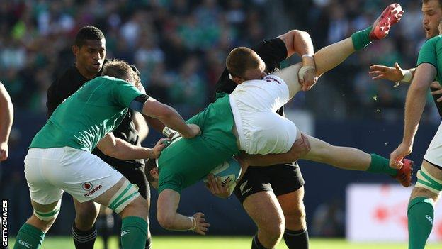 Prop Joe Moody was yellow-carded for a tip tackle on Ireland