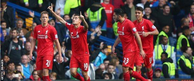 Philippe Coutinho celebrates scoring against Chelsea