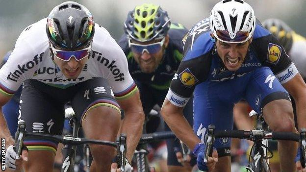 Peter Sagan (left) beats Julian Alaphillipe to win stage two