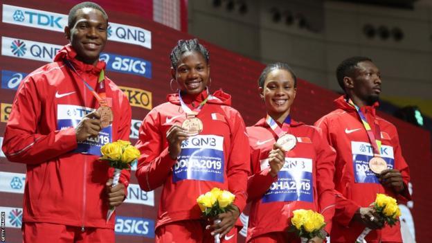 Bahrain's bronze medal team for the 4x400m mixed relay at the 2019 World Athletics Championships (left to right) Musa Isah, Aminat Jamal, Salwa Eid Naser and Abbas Abubakar Abbas