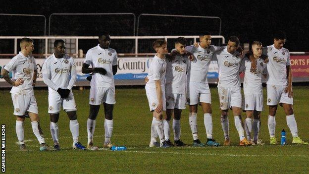 Truro City during the shootout