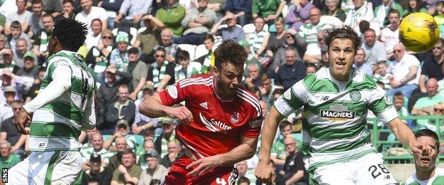 Andy Considine scores for Aberdeen against Celtic