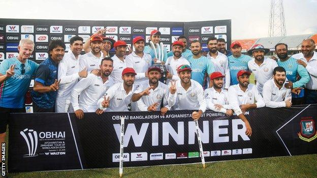 Afghanistan with the one-off Test trophy