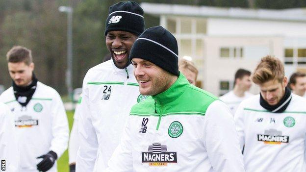 Celtic's Carlton Cole and Anthony Stokes share a joke during training