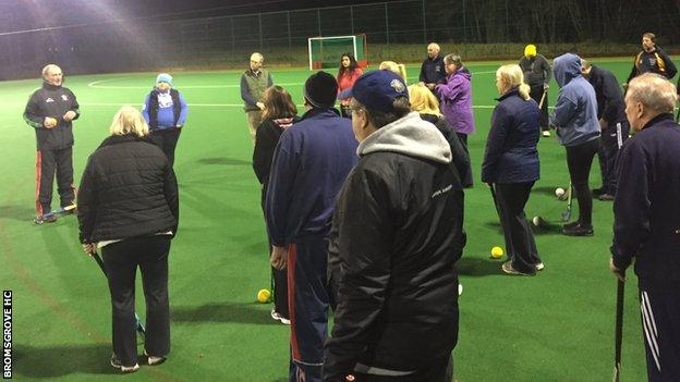 Coach Alan Gormley hosts the first session of walking hockey at Bromsgrove Hockey Club