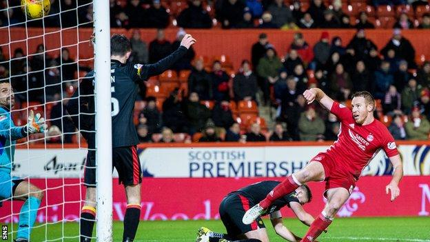 Adam Rooney puts the ball in the net for Aberdeen, but the effort was disallowed