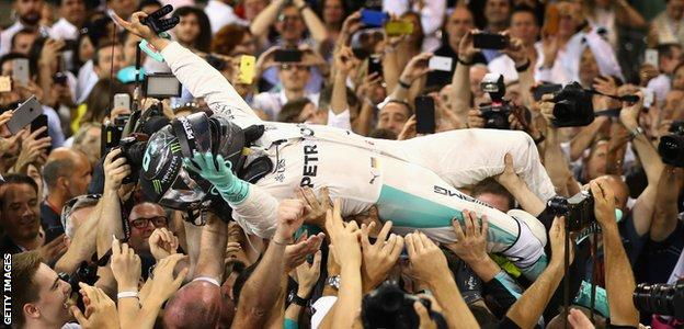 Nico Rosberg crowd-surfing