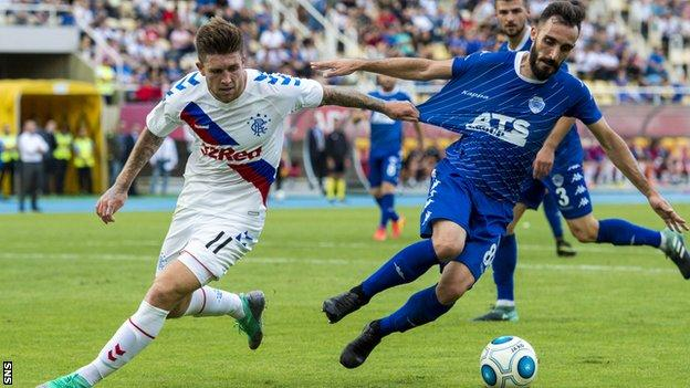 Josh Windass of Rangers pressures Shkupi's Bunjamin Shabani