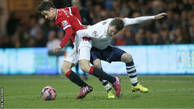 sports Scott Laird in action for Preston against Manchester United in the FA Cup in 2015