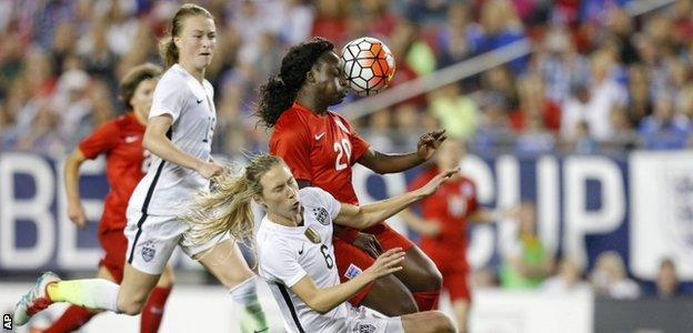Eniola Aluko battles for the ball against the US