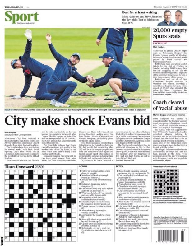 Thursday's Times Sport