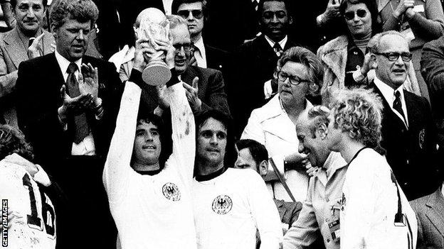 Gerd Muller lifting the World Cup in 1974