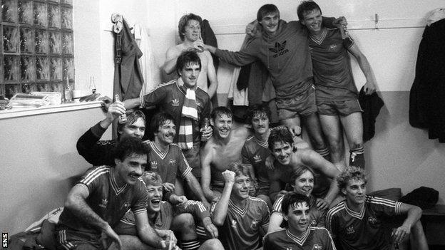 Aberdeen celebrate beating Ipswich Town in the Uefa Cup in 1981