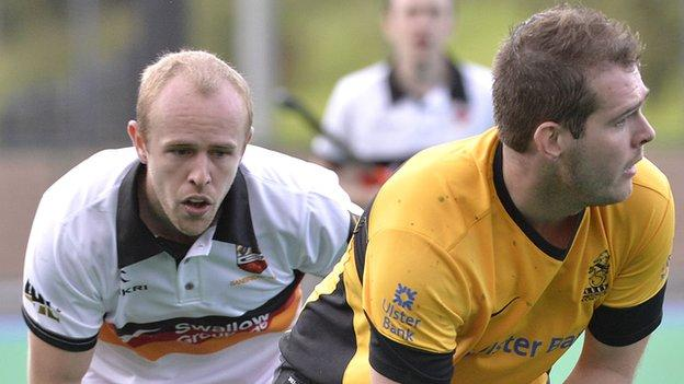 Banbridge's Eugene Magee in action against William Robinson of Instonians