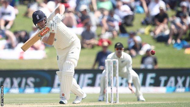 England opener Dom Sibley clips a ball away through the leg side on day one of the first Test against New Zealand