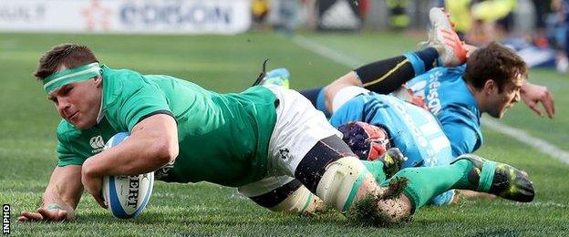 CJ Stander scores Ireland's second try despite Angelo Esposito's efforts