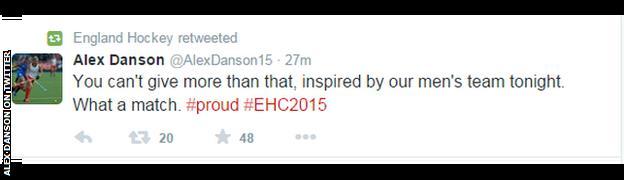 Alex Danson's tweet