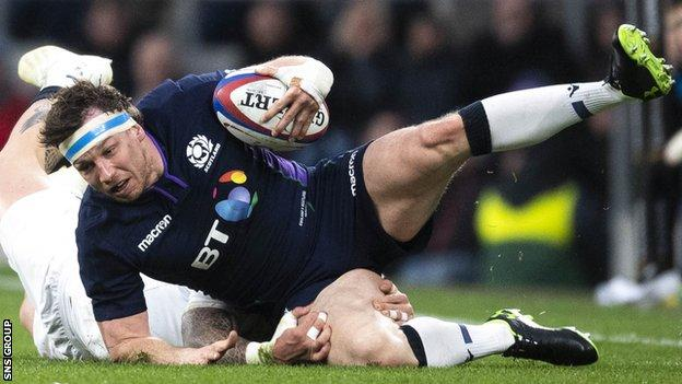 Hamish Watson returned from a broken hand to play in the final two Six Nations matches for Scotland