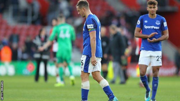 Phil Jagielka and Dominic Calvert-Lewin at the final whistle.