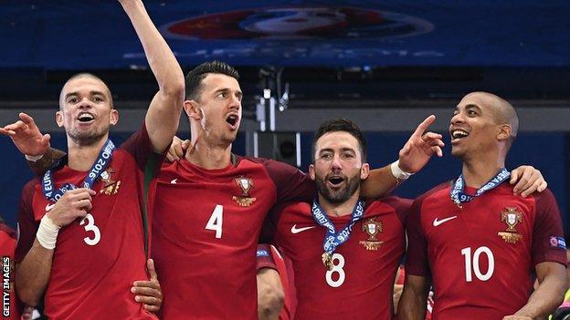 Joao Mario celebrates with Portugal