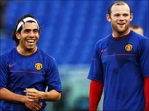Wayne Rooney and Carlos Tevez