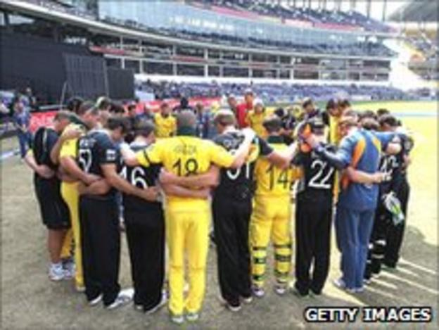 New Zealand and Australia players at the Cricket World Cup