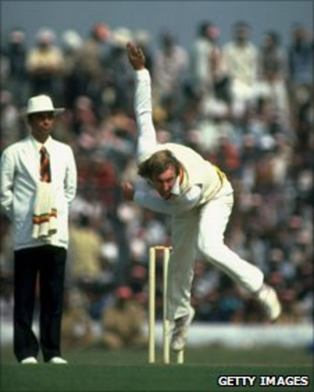 John Lever of England bowls during the match against the East Zone during their tour to India.