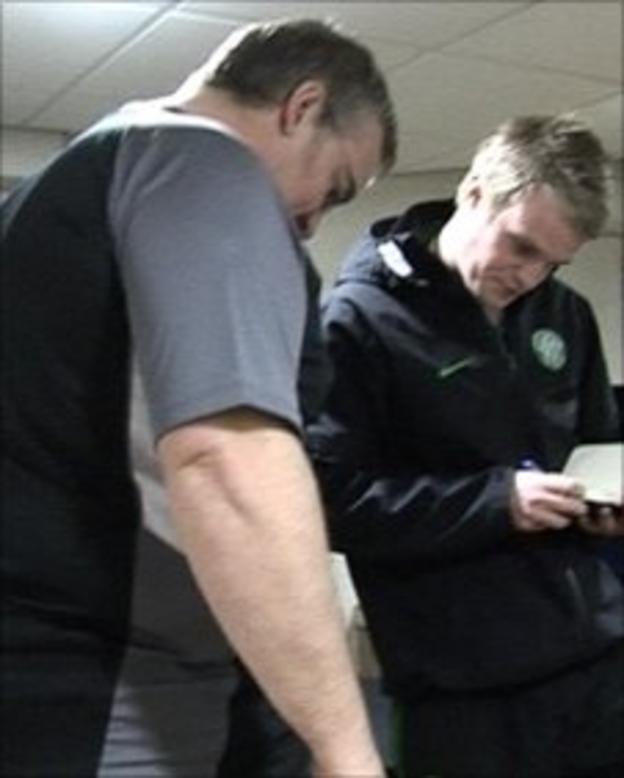 BBC Producer Paul Bradley (left) with Celtic community coach Graeme Colmer