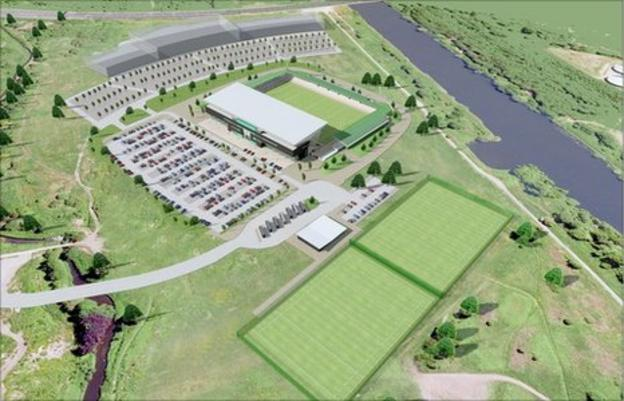 Aerial view of the proposed stadium in Salford