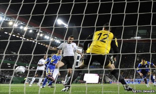 Miroslav Klose puts Germany in front against Kazakhstan