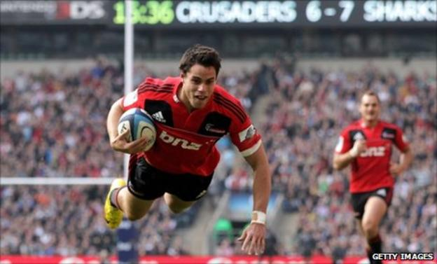 Zac Guildford crosses for the Crusaders