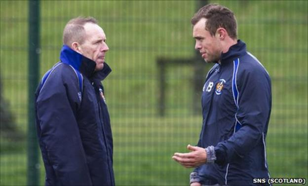 Kilmarnock caretaker manager Kenny Shiels and defender Ryan O'Leary