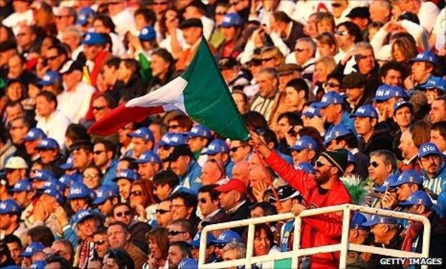 Italy fans at the Stadio Flaminio