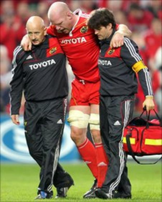 Paul O'Connell is helped off the field at Thomond Park