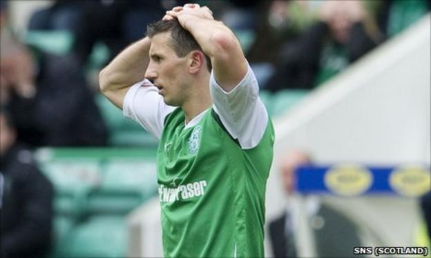 Hibs midfielder Liam Miller can't hide his disappointment