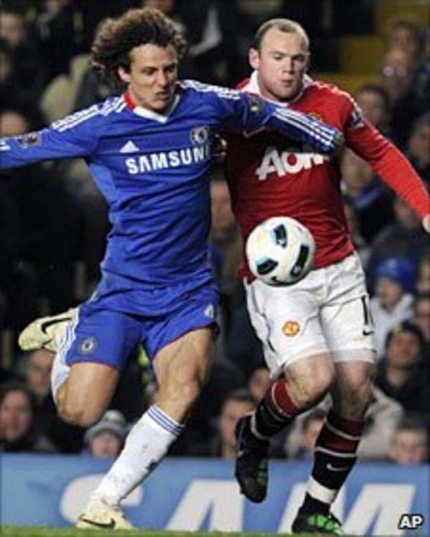 David Luiz and Wayne Rooney tangle in March