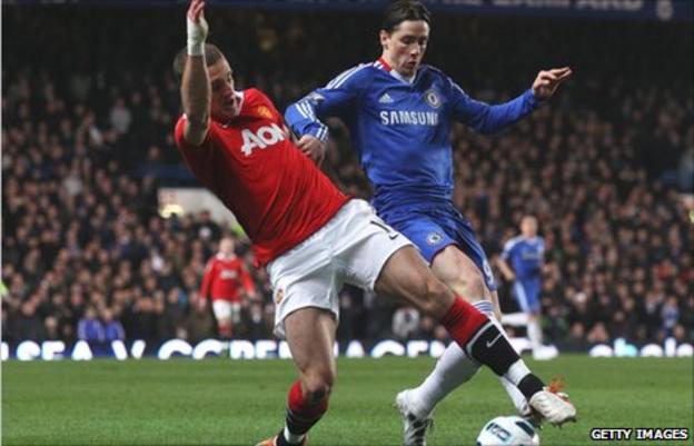 Manchester United's Nemanja Vidic tangles with Fernando Torres