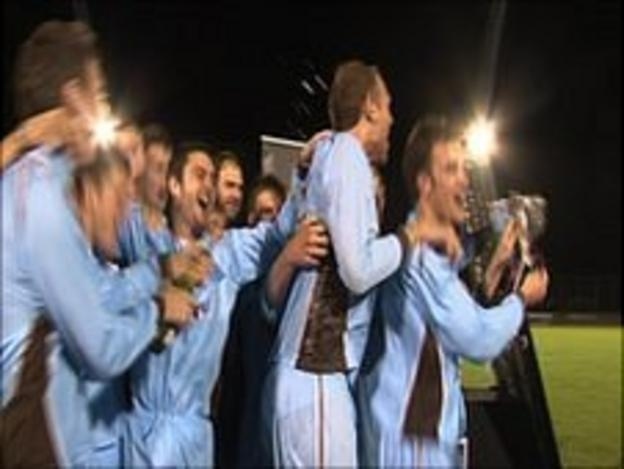 North celebrate winning the Guernsey FA Cup